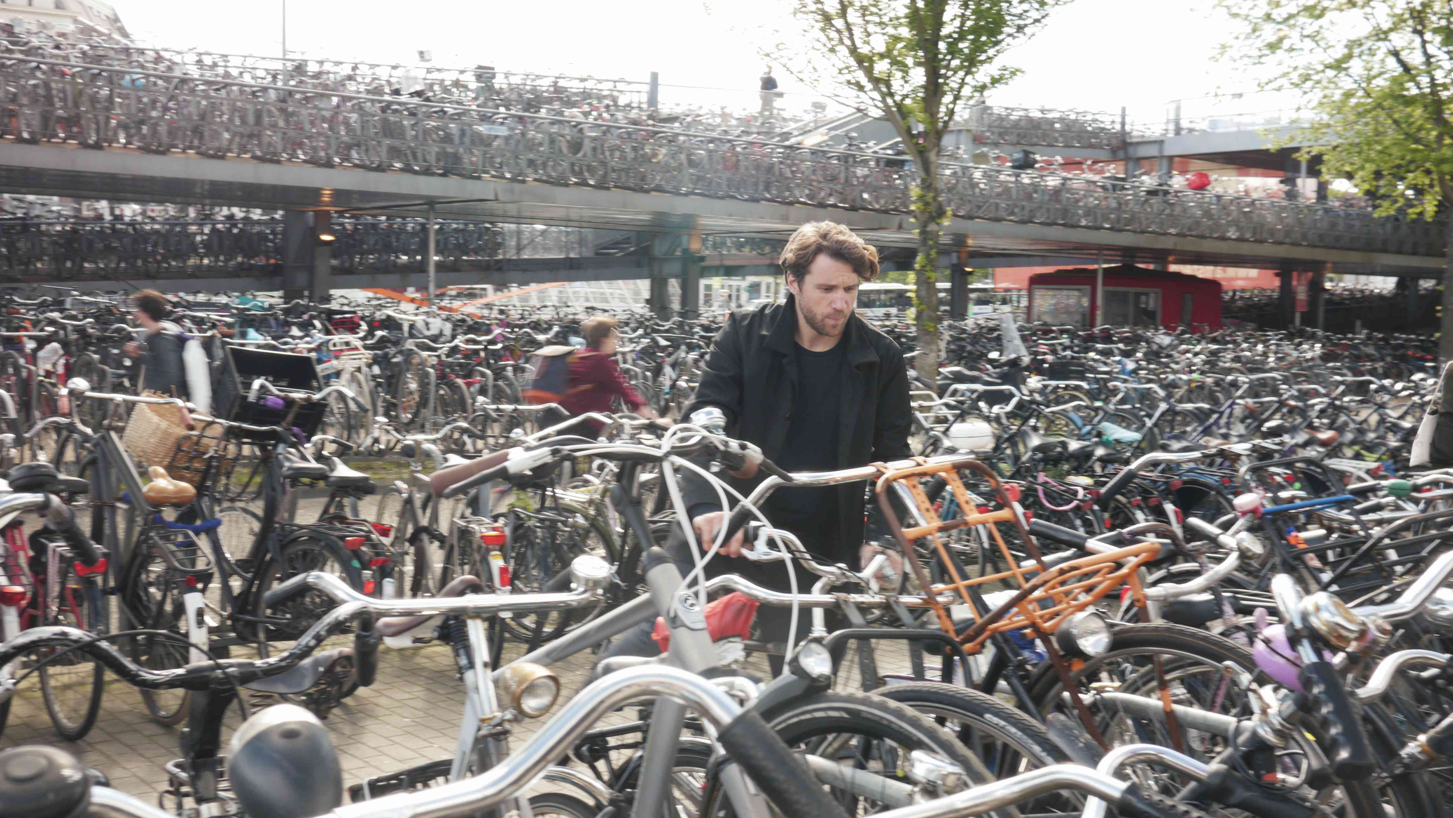 A crowded bike parking area in Amsterdam.