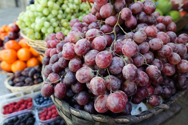Grapes for sale at a street market