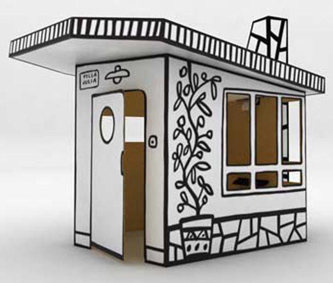 A playhouse made of cardboard