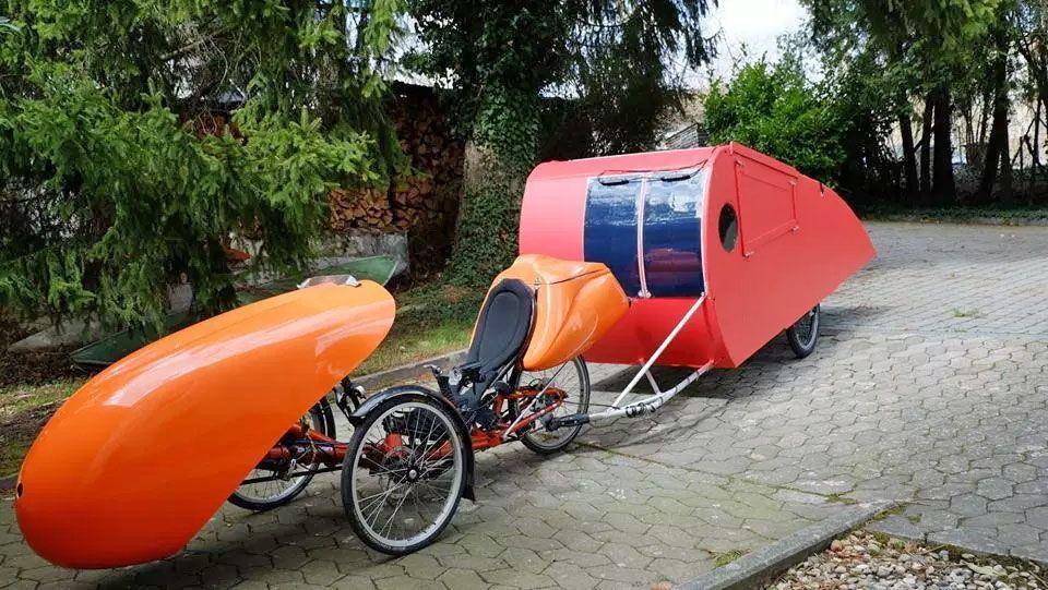 Bike towing a camper