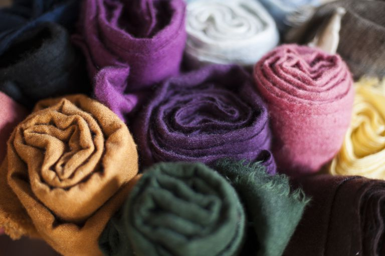 Assortment of Rolled-Up Pashminas, Close-Up
