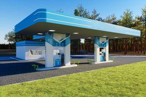 A blue H20 gas station illustration.