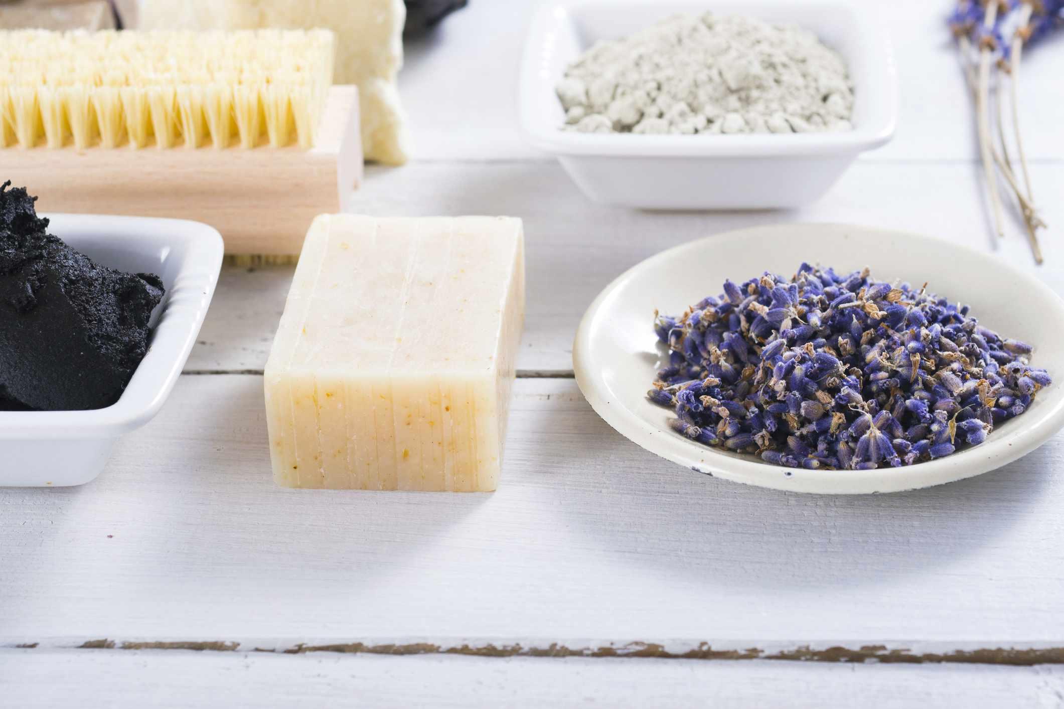 Homemade shampoo bar next to dried lavender