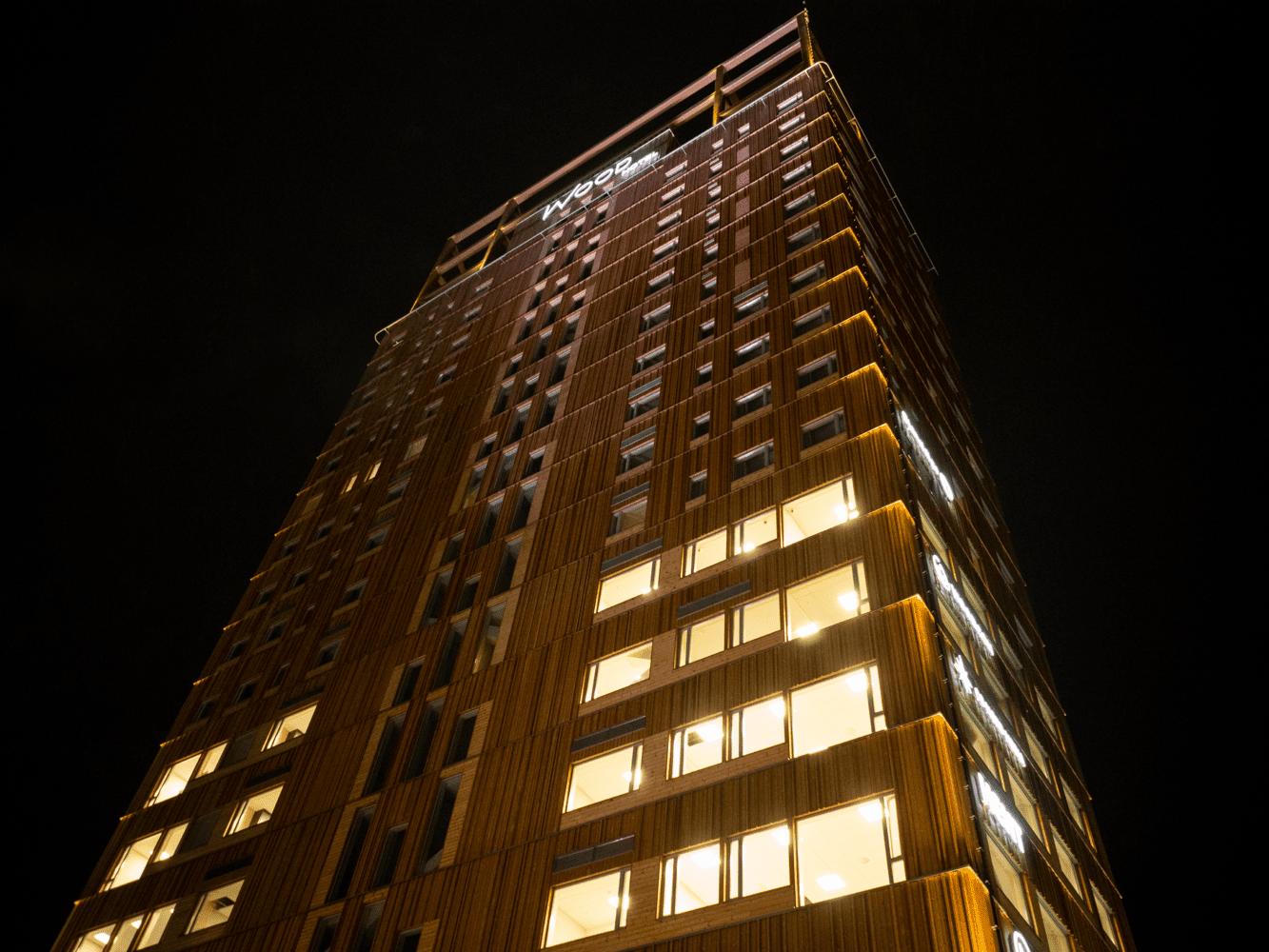 Mjøstårnet on opening night