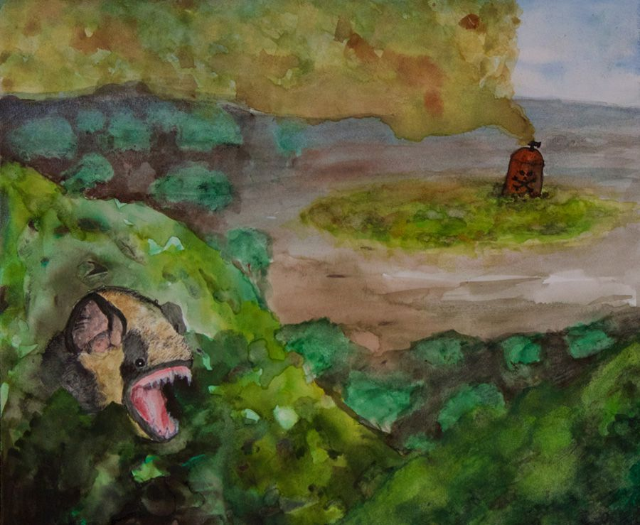 A watercolor painting of a Hawaiian hoary bat with a toxic vat in the background