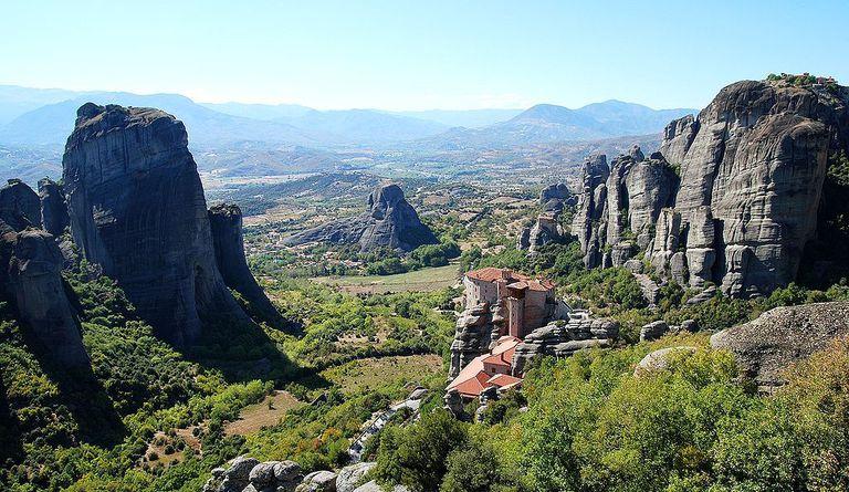 A monastery on the edge of a mountain