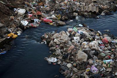 Garbage at dirty Water