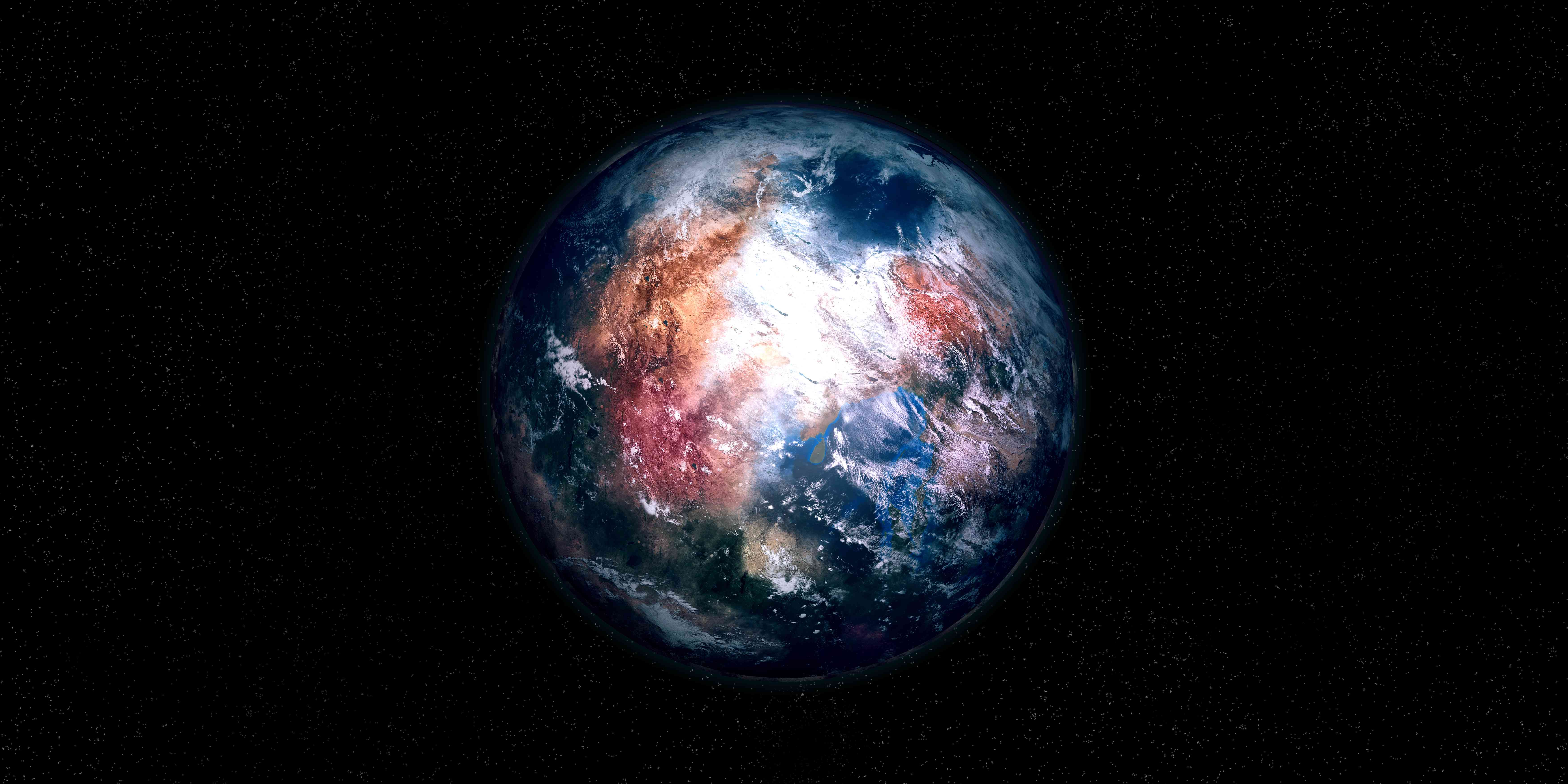 An illustration of an Earth-like exoplanet.