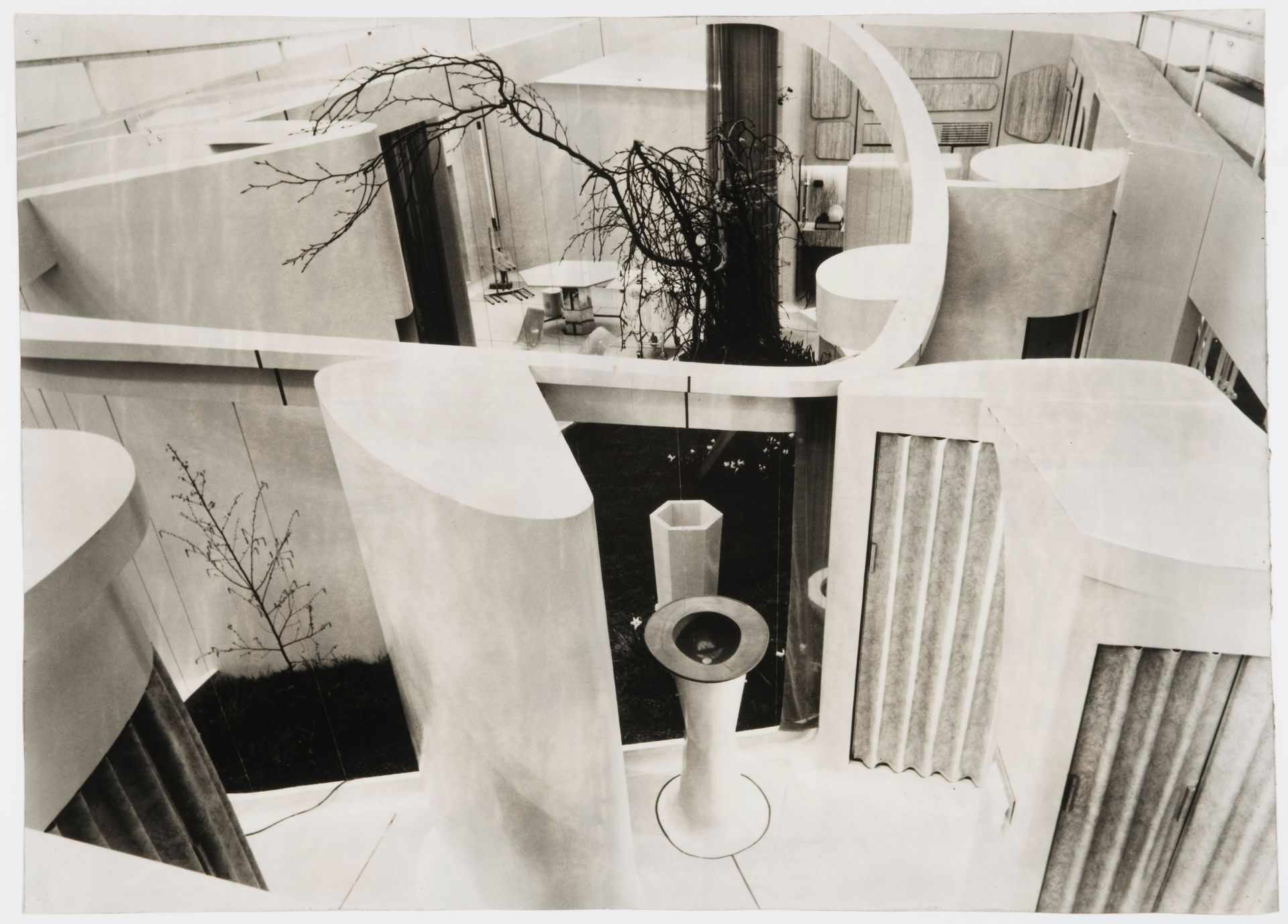 Overhead view of an interior courtyard