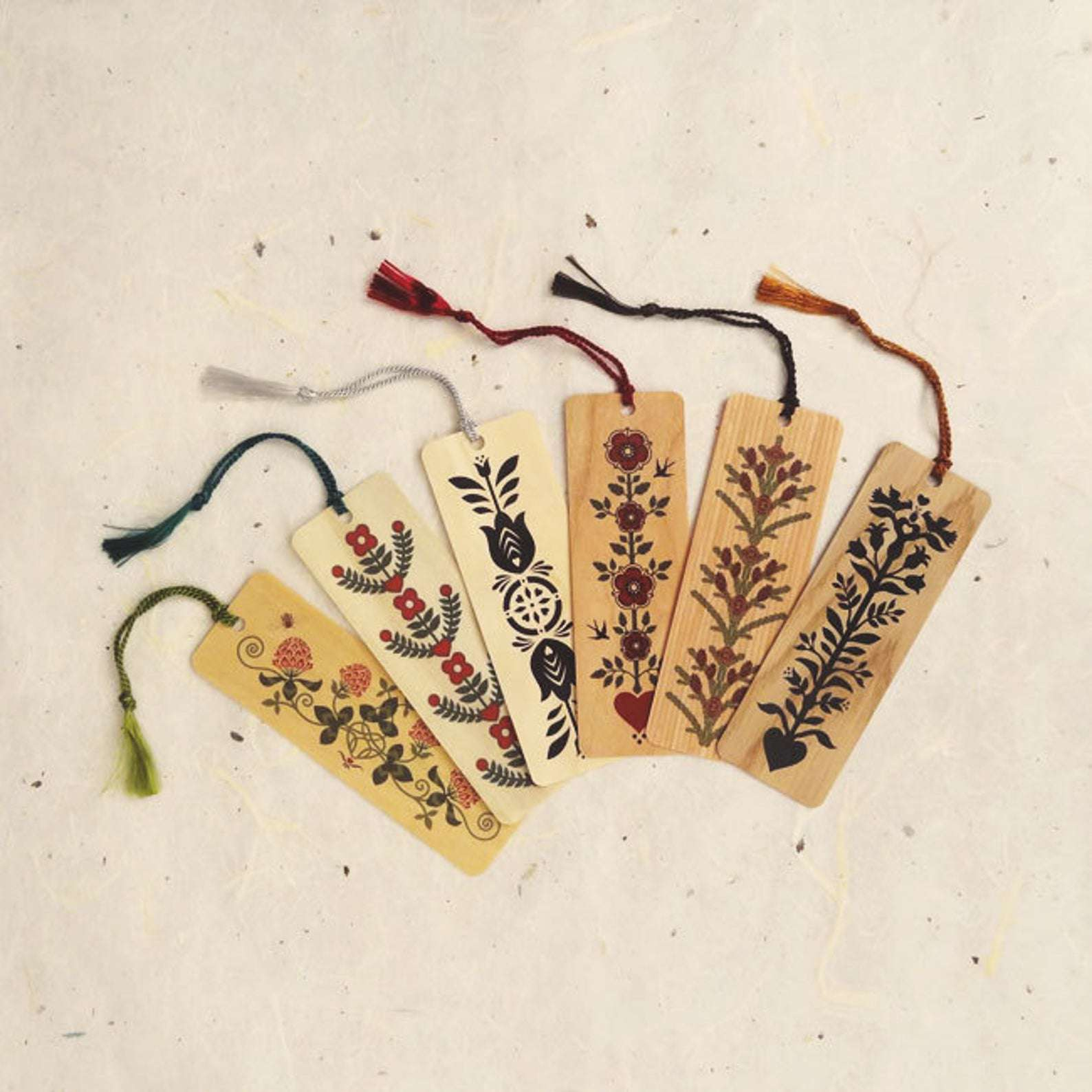 Little Gold Fox Designs Wood Bookmarks with Tassels