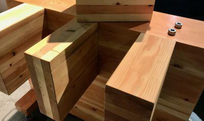 A pile of laminated lumber blocks