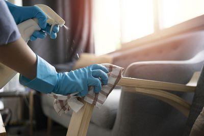 female housekeeping big cleaning house