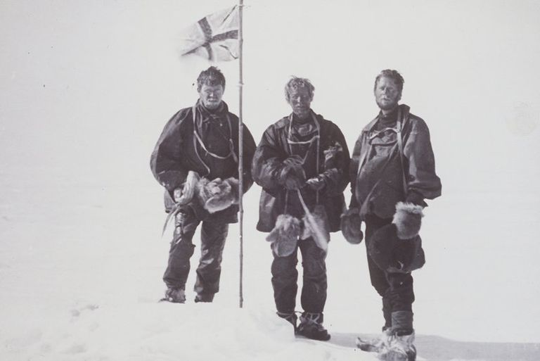Black and white photo of a group of explorers