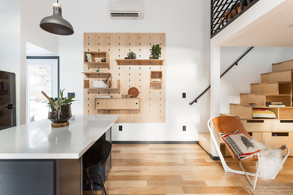 Pegboard shelving wall unit in the kitchen
