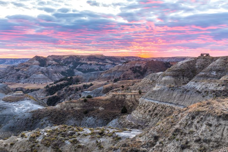 Majestic Sunset Scene in Theodore Roosevelt National Park