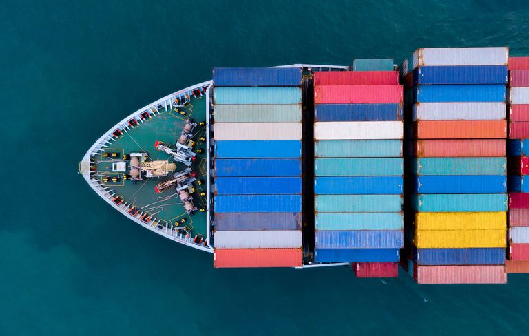 Aerial View Of Container Ship Sailing In Sea