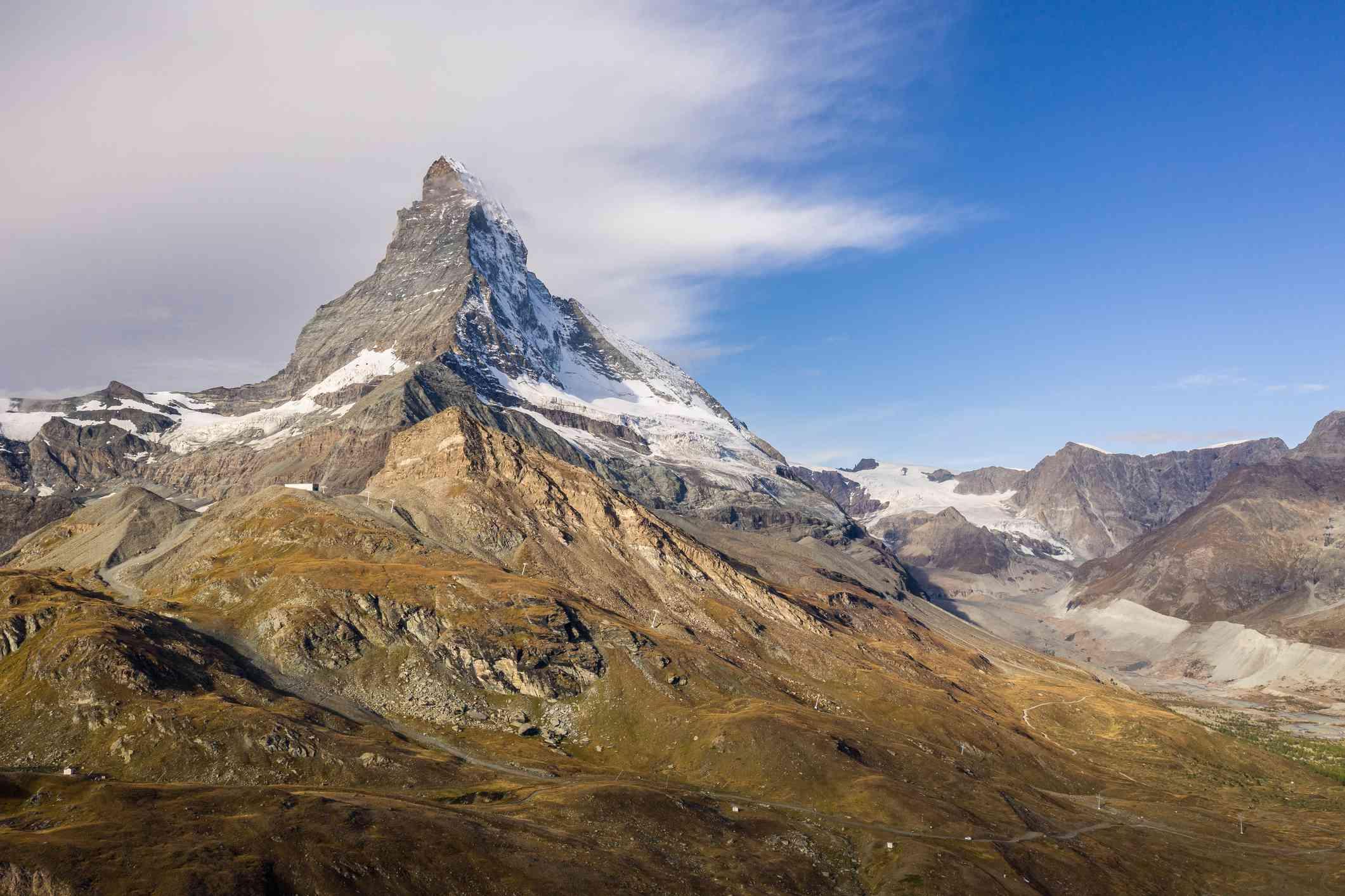 Dramatic aerial view of the iconic Matterhorn peak above Zermatt, Switzerland