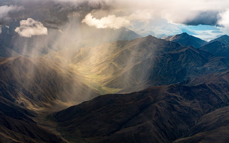 Aerial view of an orographic rain shower.