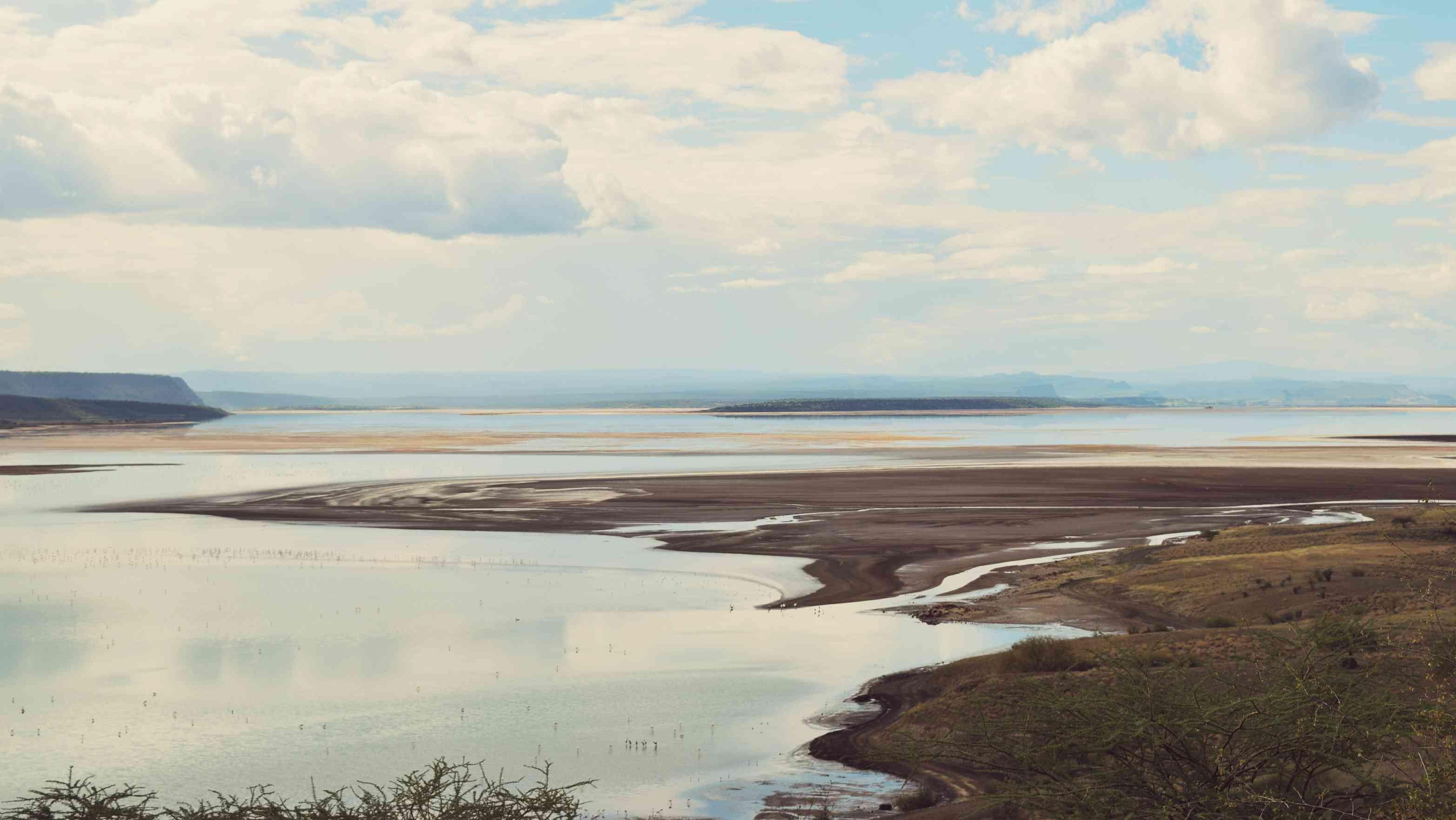 An aerial view of Lake Magadi