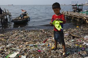 a plastic-covered beach in Jakarta, Indonesia