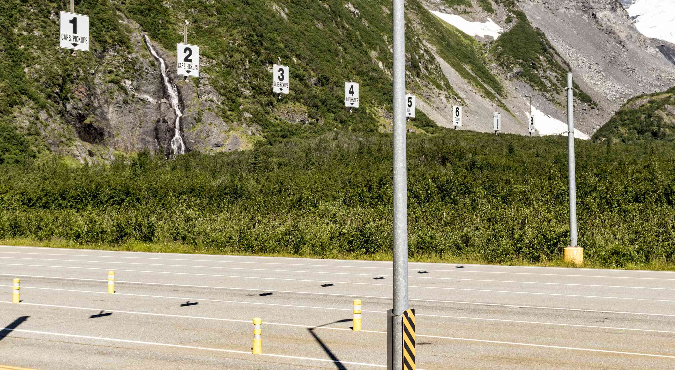 Numbers show the lane markings at the entrance to the Whittier Tunnel in Alaska.