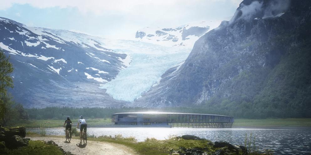 Landscape view rendering, Svart Hotel, Norway