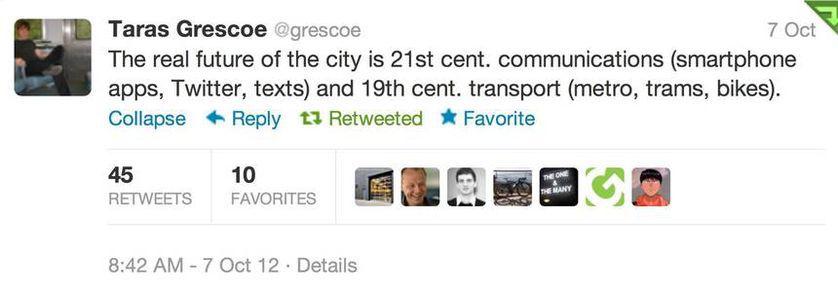 Tweet by Taras Grescoe