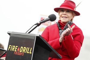 Actor and activist Jane Fond speaks at her last Washington, DC