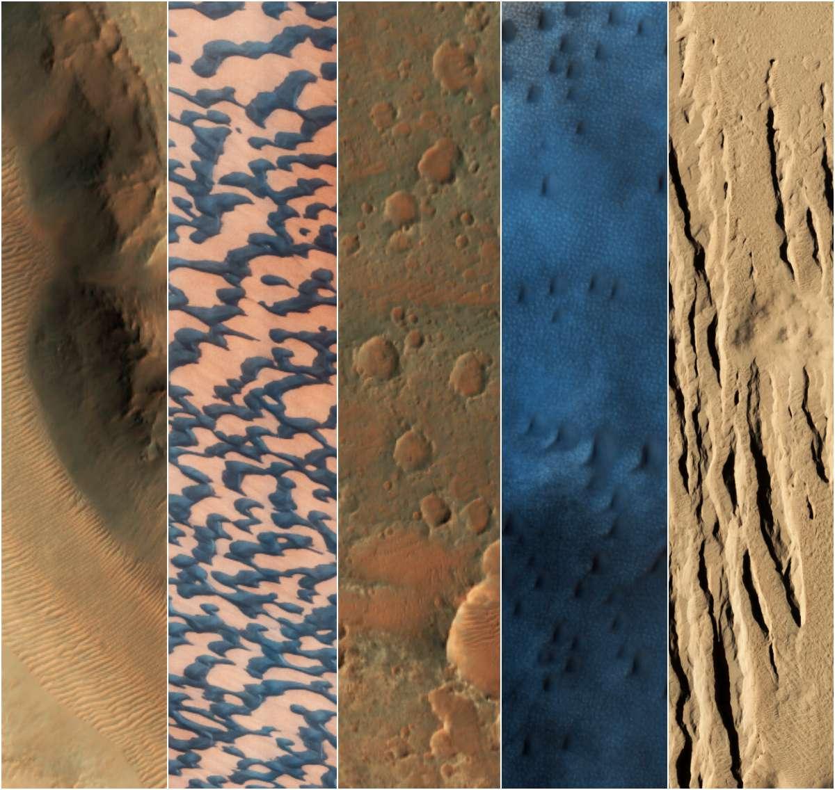 A vivid sampling of Martian landscapes, as captured by the HiRISE camera aboard NASA's Mars Reconnaissance Orbiter.