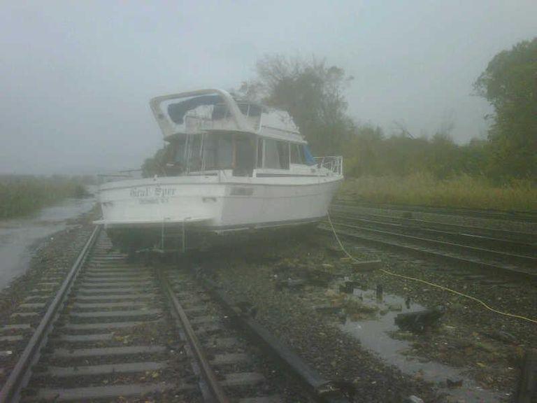 boat on tracks storm sandy