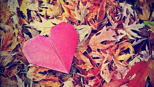 an origami heart and leaves as a background