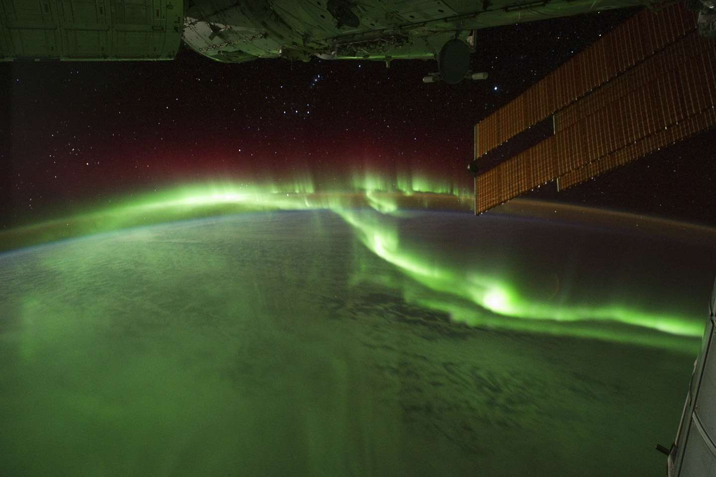 Above-earth view of the Southern Lights.
