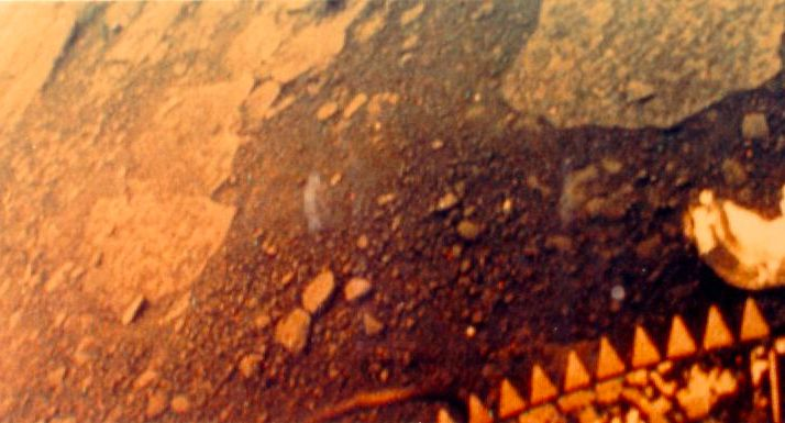 The blackened, scorched surface of Venus as captured by the Soviet spacecraft Venera 13 in 1981.