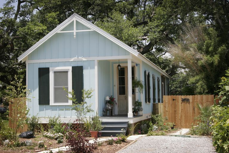 A blue Katrina cottage built after the hurricane.