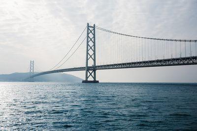 Akashi Kaikyo Bridge on a cloudy day