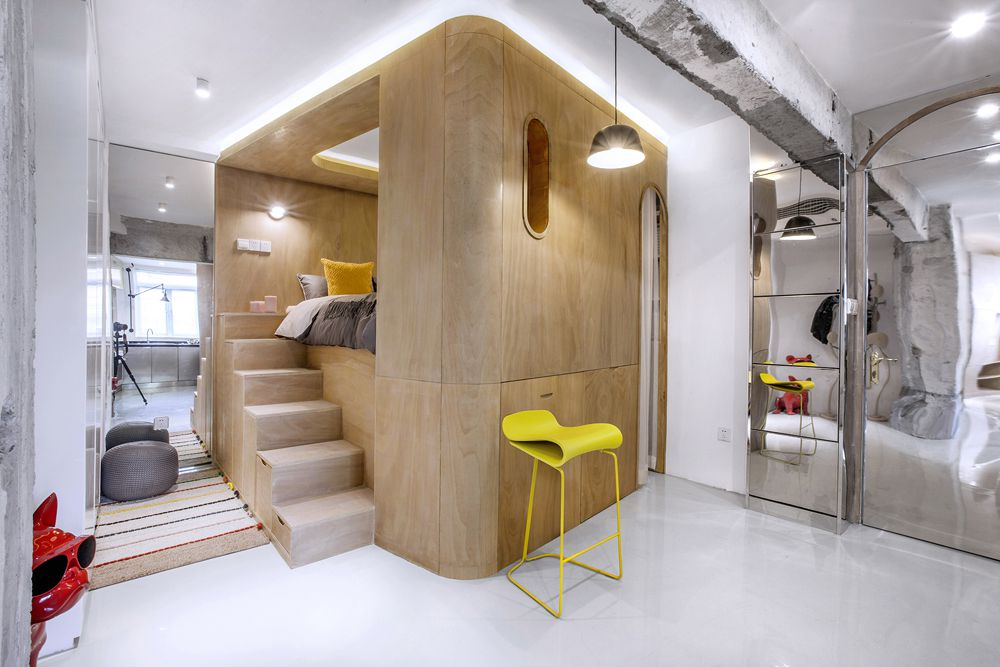 Small Apartment Renovation Features Clever 10 Degree Rotation (Video)