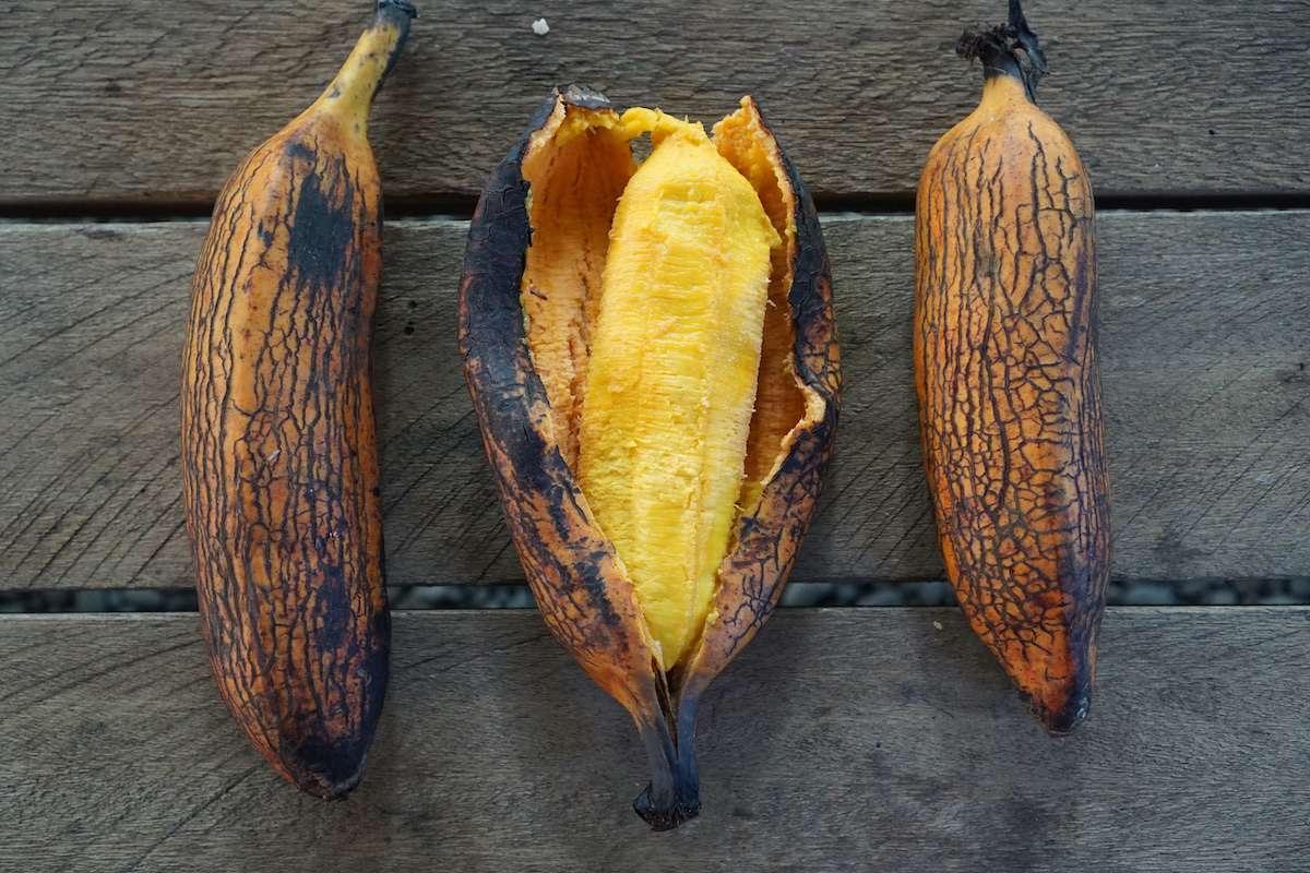 Fire roasted and betacarotene rich Fe'i banana.