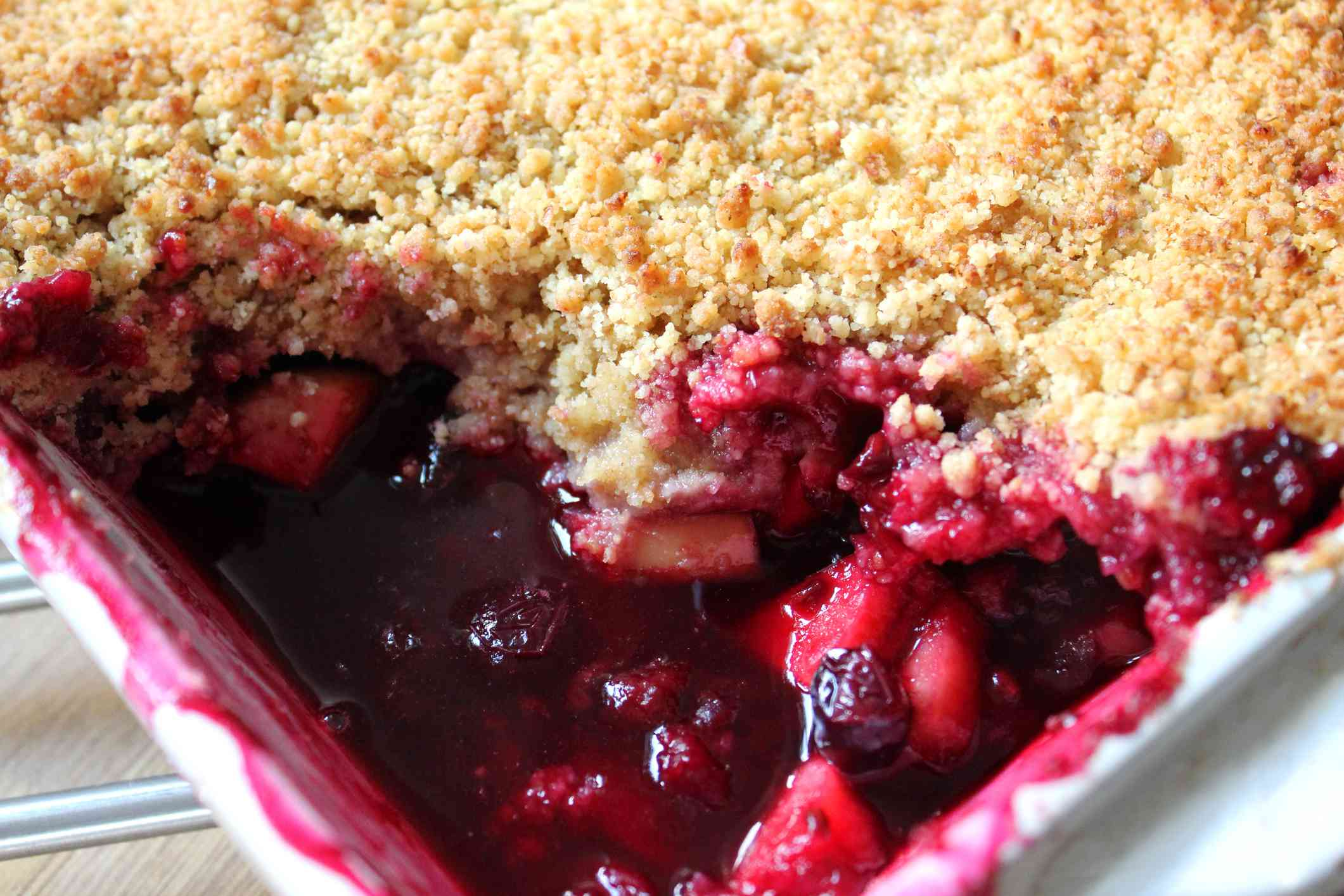 Close up of an apple berry crumble