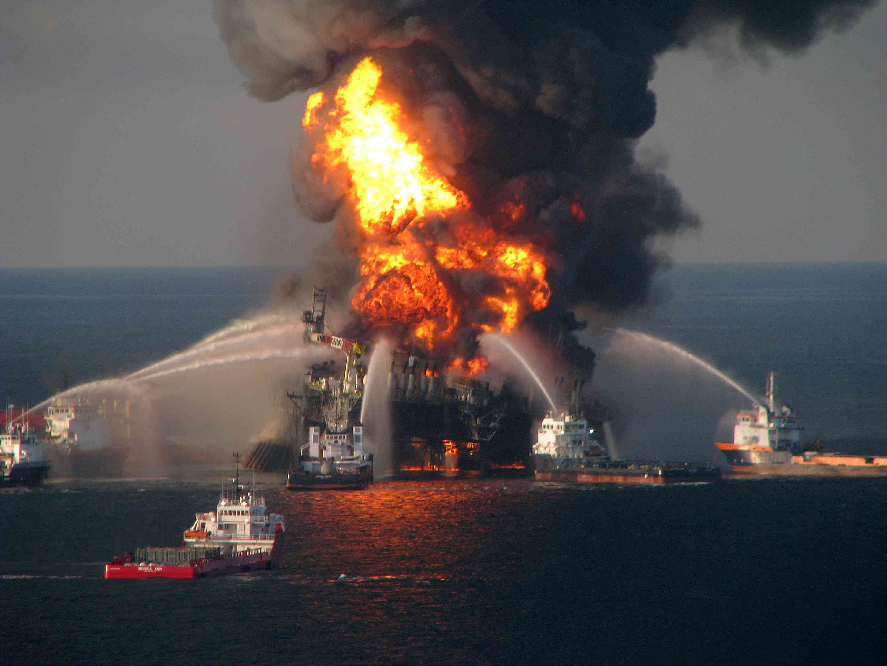 Coast Guard fighting an oil rig fire