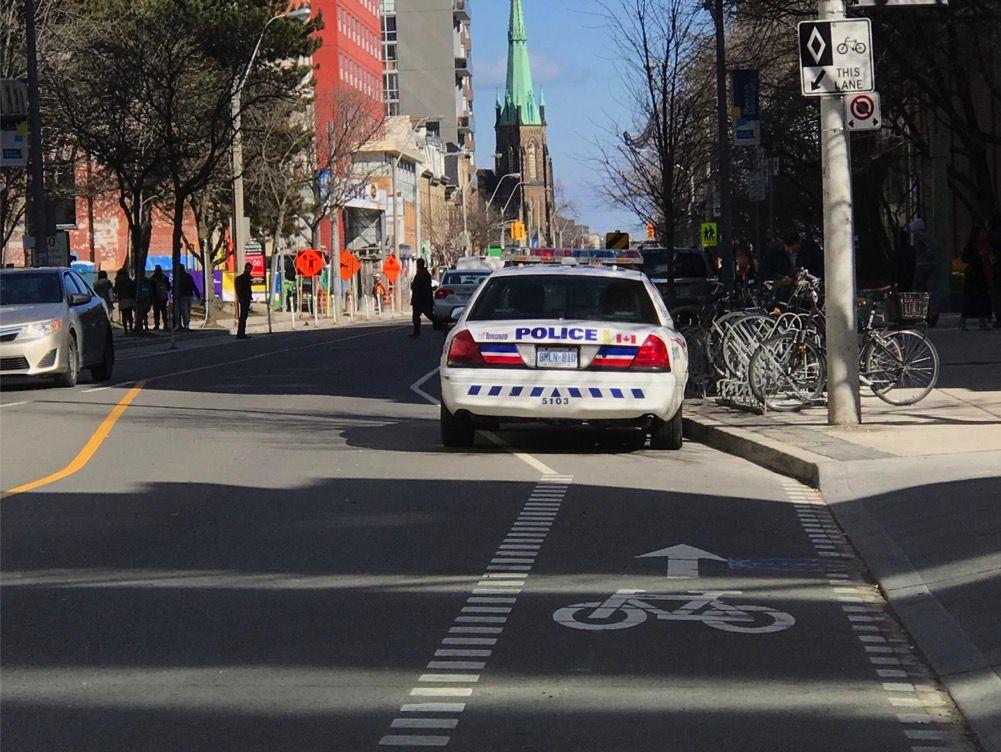 Police car in bike lane