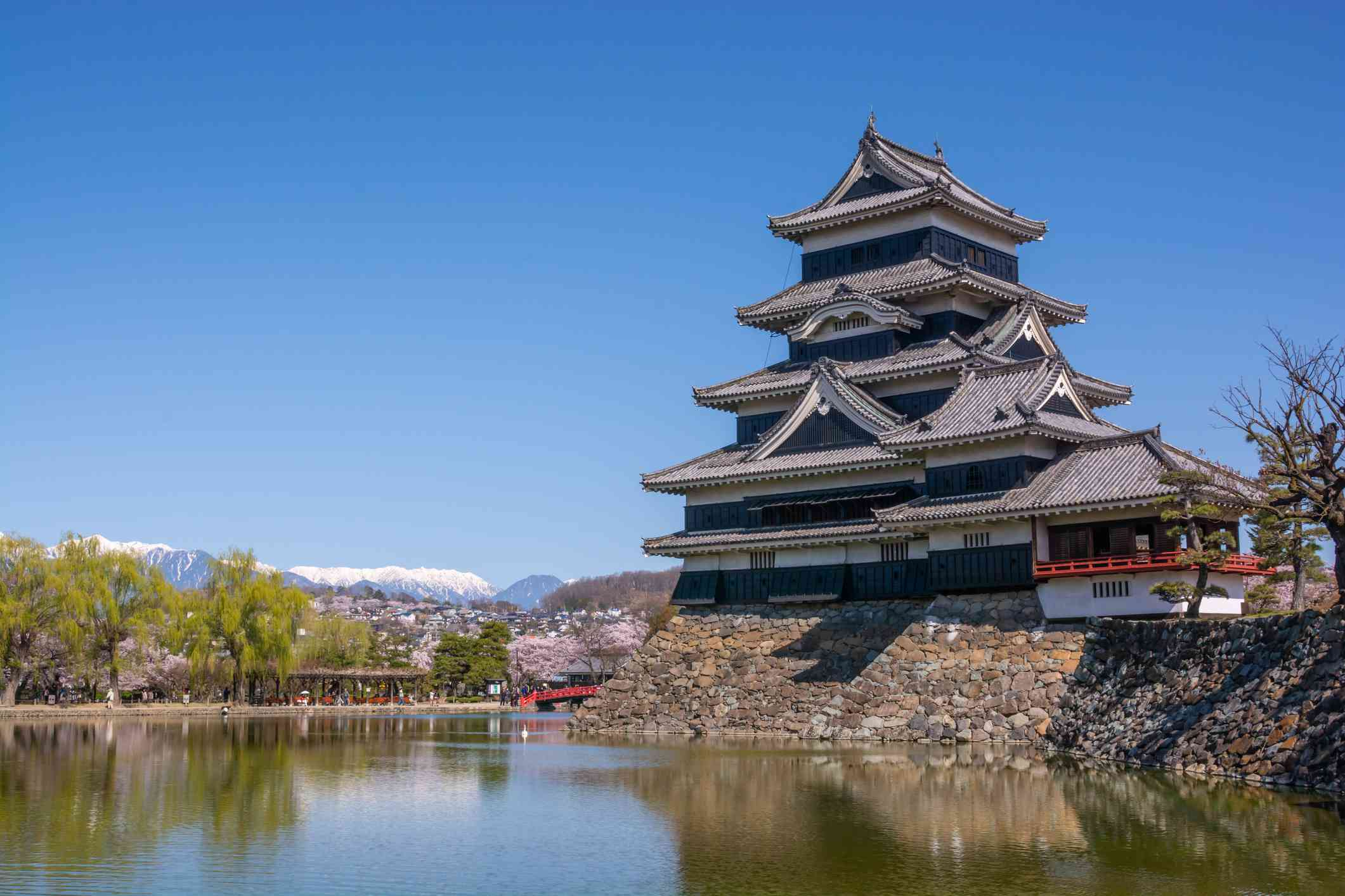 View of Matsumoto Castle from across a small waterway under a sunny, clear blue sky