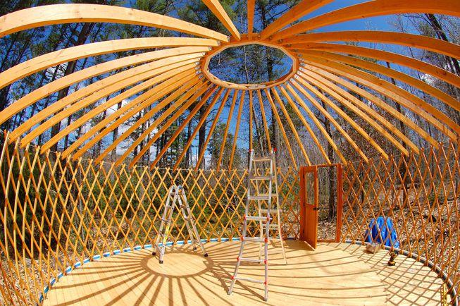 A yurt under construction