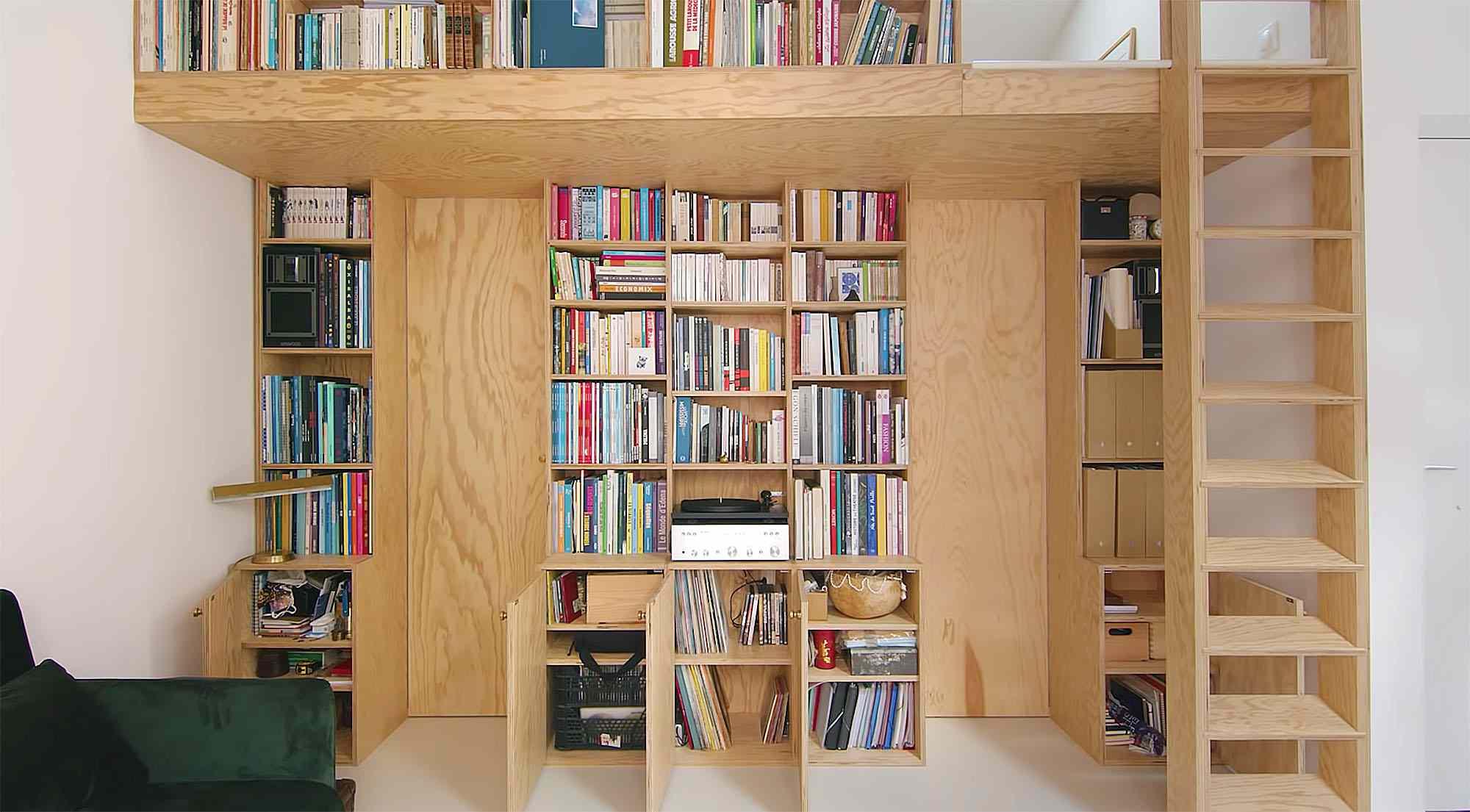 Jourdain micro-apartment renovation Matthieu Torres bookshelf