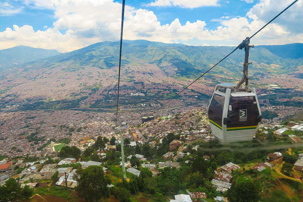 Aerial tram car descending into Medellin, Colombia