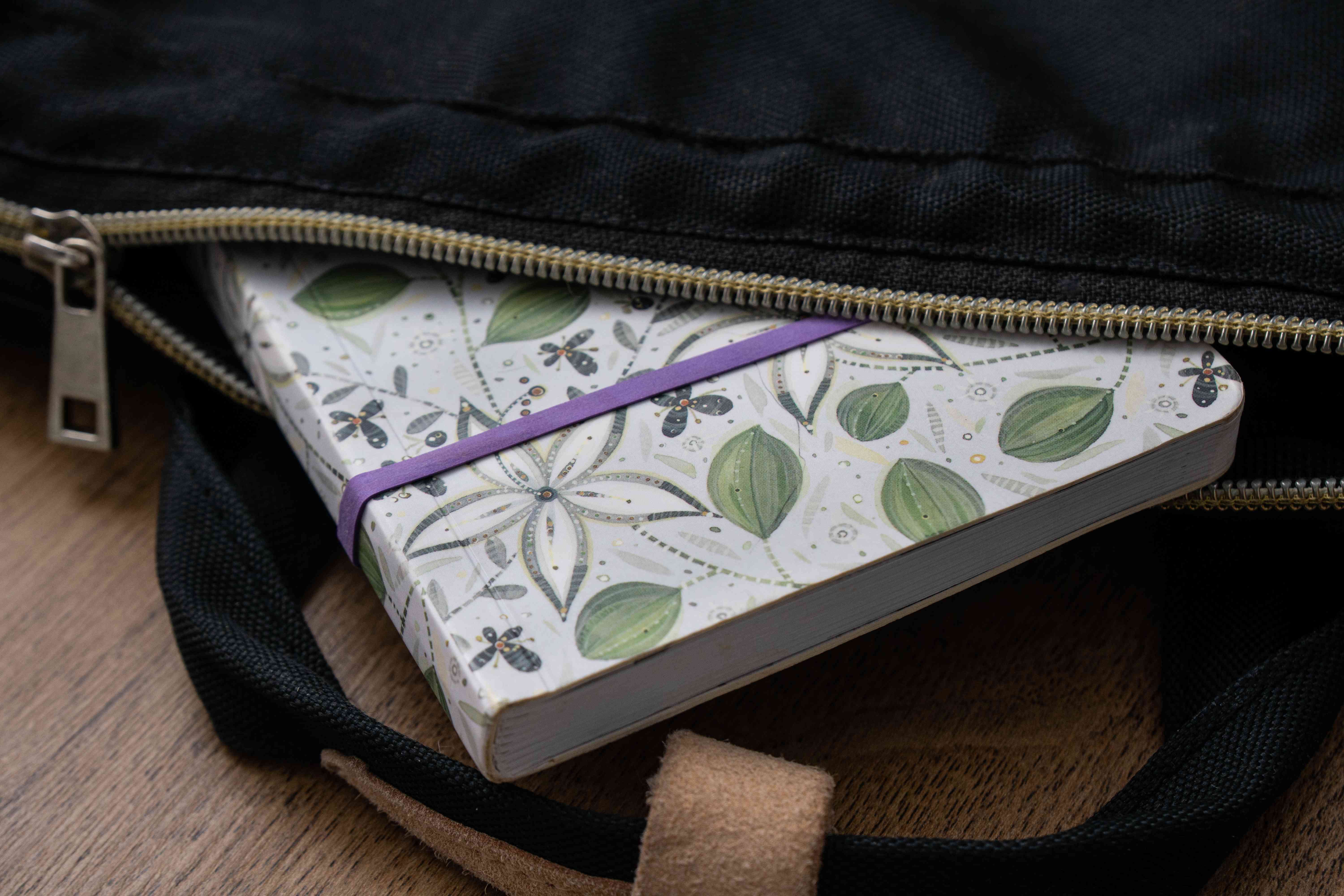 keep journals closed in your bag with a rubber band