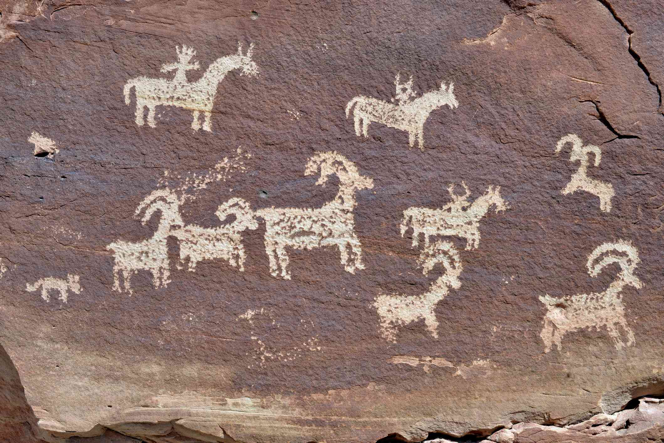 Petroglyphs in the Arches National Park, Utah, USA