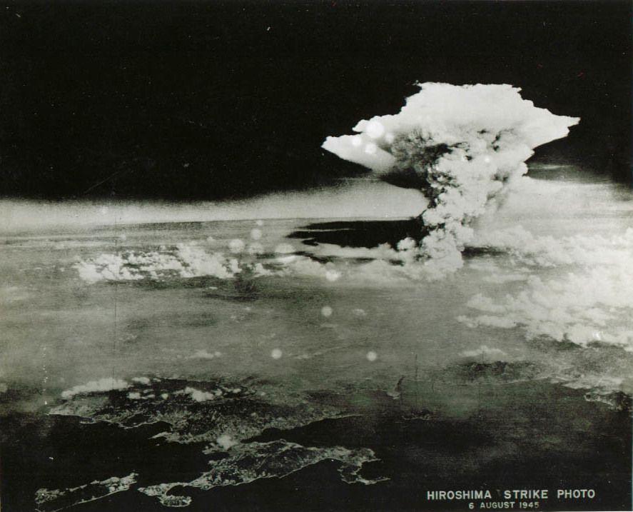 Firestorm cloud over Hiroshima, Japan, near local noon. Aug 6 1945