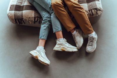 Couple wearing sneakers