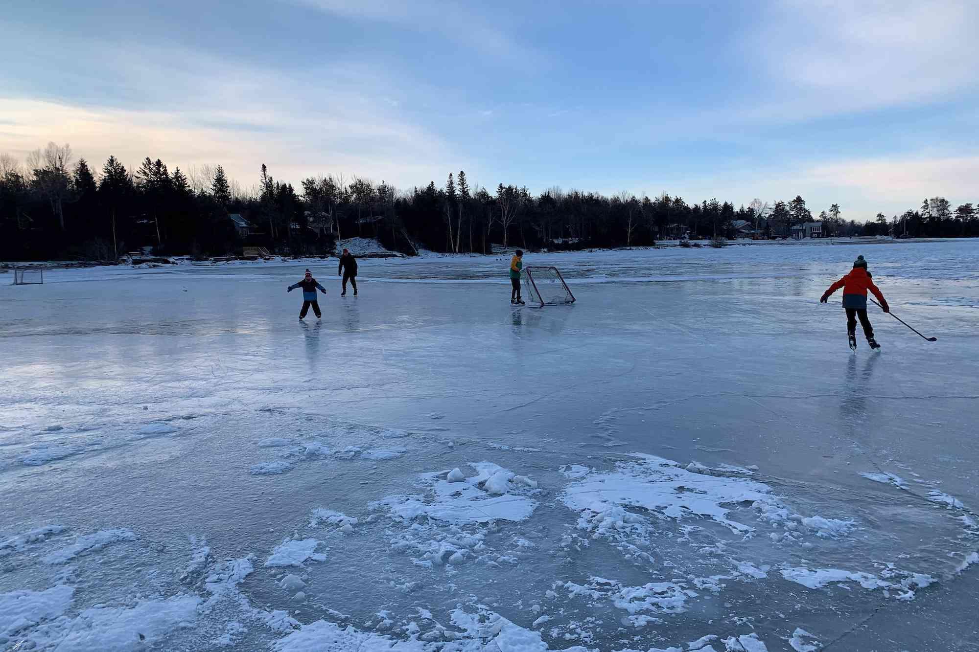 early morning hockey on the lake