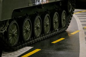 Rubber tracks on a military tank.